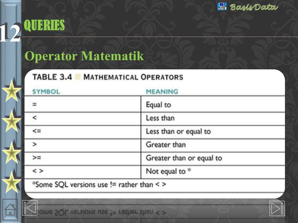 QUERIES Operator Matematik