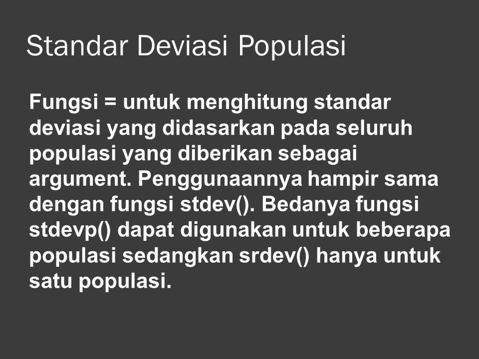 Standar Deviasi Populasi