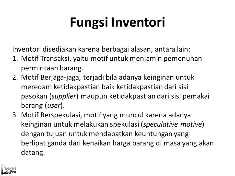 Fungsi Inventori Inventori disediakan karena berbagai alasan, antara lain: Motif Transaksi, yaitu motif untuk menjamin pemenuhan permintaan barang.