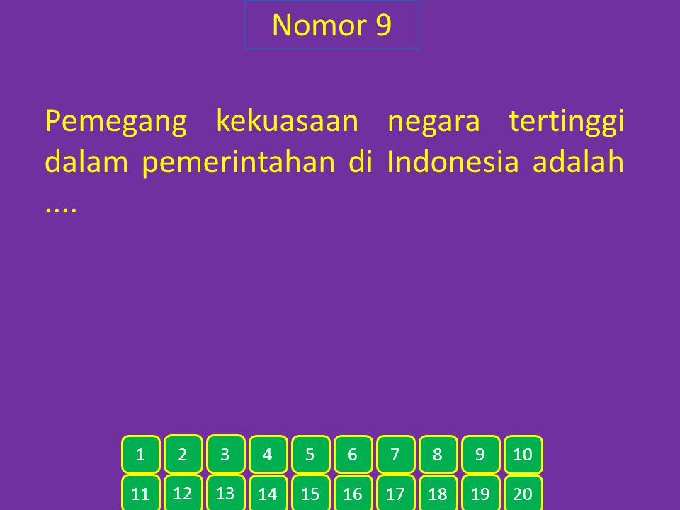 Nomor 9 Pemegang kekuasaan negara tertinggi dalam pemerintahan di Indonesia adalah .... 1. 2. 3.