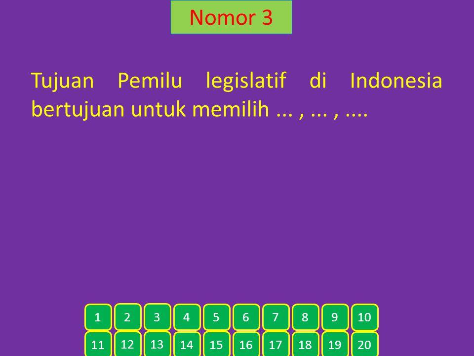 Nomor 3 Tujuan Pemilu legislatif di Indonesia bertujuan untuk memilih ... , ... , .... 1. 2. 3. 4.