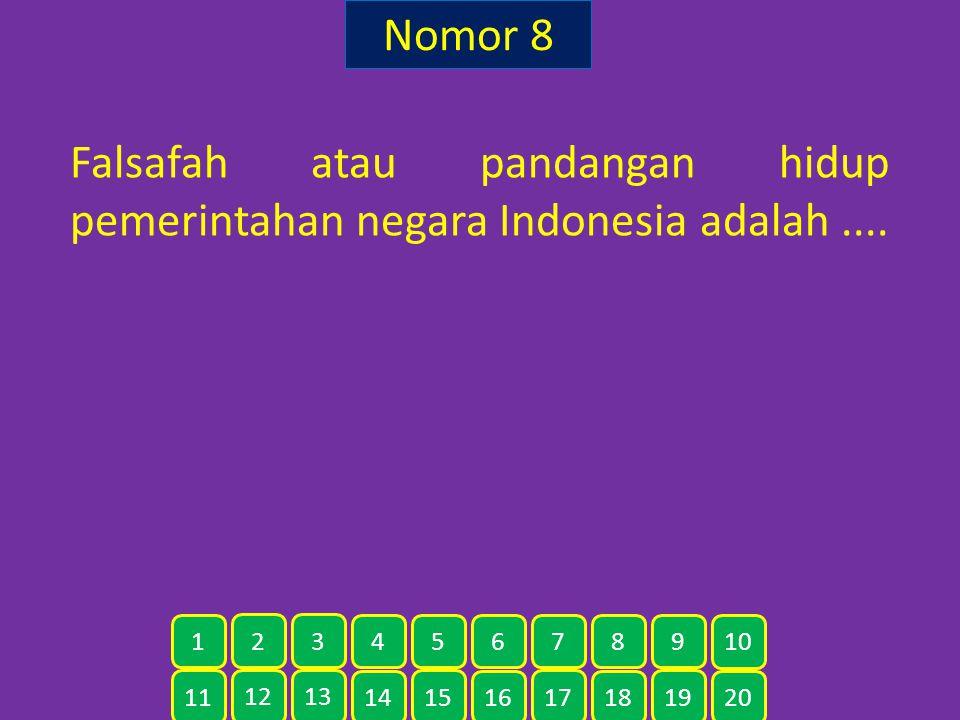 Nomor 8 Falsafah atau pandangan hidup pemerintahan negara Indonesia adalah .... 1. 2. 3. 4. 5.