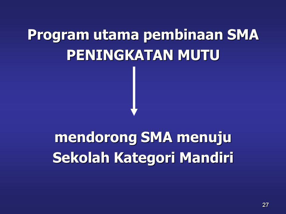 Program utama pembinaan SMA Sekolah Kategori Mandiri