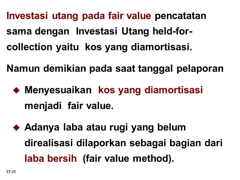 Investasi utang pada fair value pencatatan sama dengan Investasi Utang held-for-collection yaitu kos yang diamortisasi.
