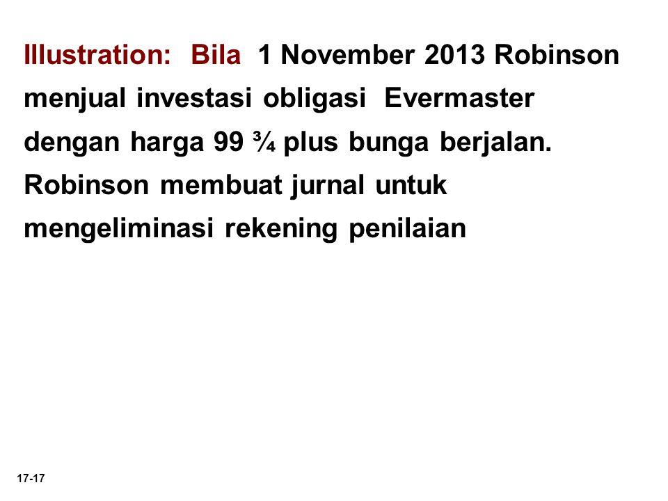 Illustration: Bila 1 November 2013 Robinson menjual investasi obligasi Evermaster dengan harga 99 ¾ plus bunga berjalan.