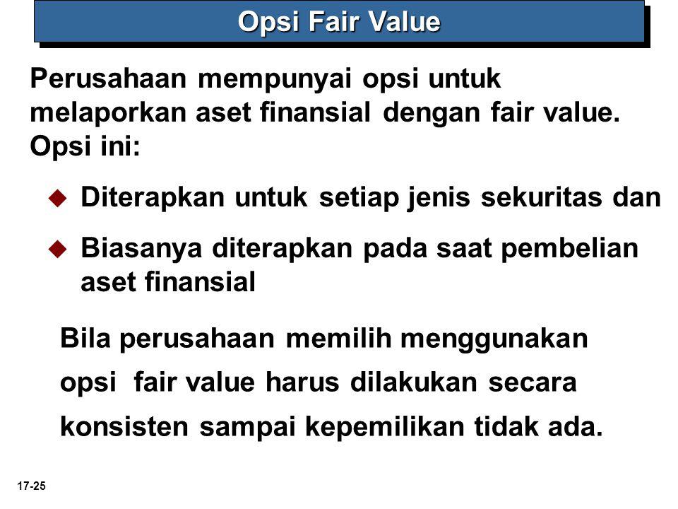 Opsi Fair Value Perusahaan mempunyai opsi untuk melaporkan aset finansial dengan fair value. Opsi ini: