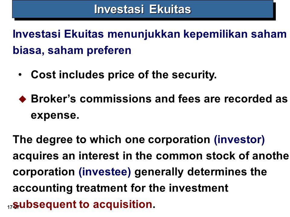 Investasi Ekuitas Investasi Ekuitas menunjukkan kepemilikan saham biasa, saham preferen. Cost includes price of the security.