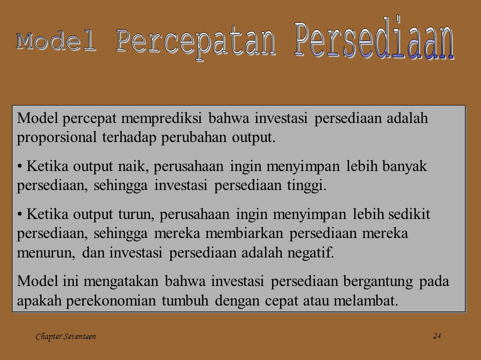 Model Percepatan Persediaan