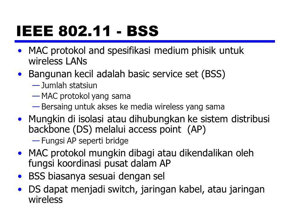 IEEE 802.11 - BSS MAC protokol and spesifikasi medium phisik untuk wireless LANs. Bangunan kecil adalah basic service set (BSS)