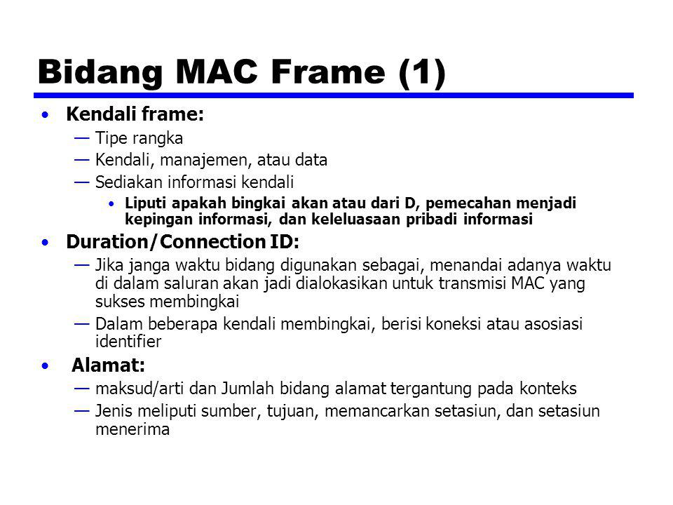 Bidang MAC Frame (1) Kendali frame: Duration/Connection ID: Alamat: