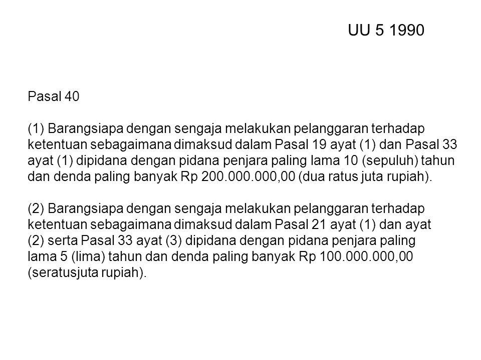 UU 5 1990 Pasal 40. (1) Barangsiapa dengan sengaja melakukan pelanggaran terhadap.