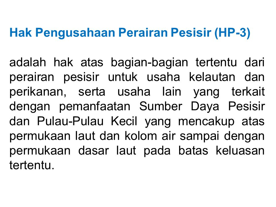 Hak Pengusahaan Perairan Pesisir (HP-3)