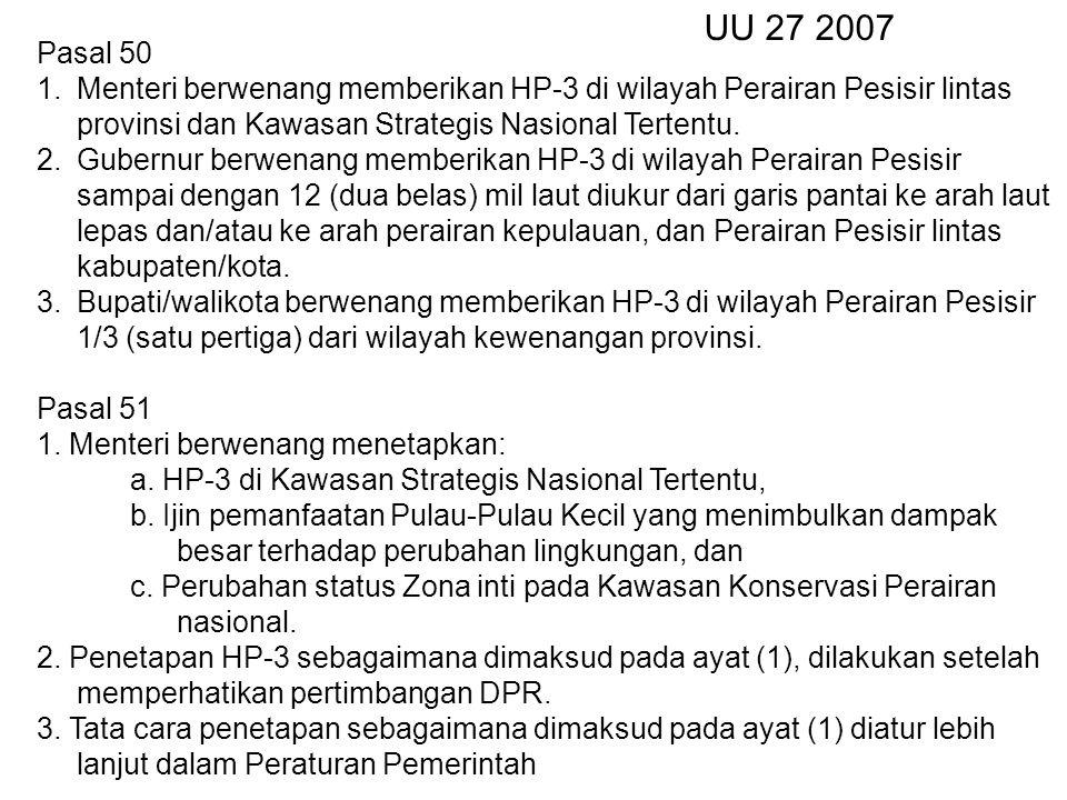 UU 27 2007 Pasal 50. Menteri berwenang memberikan HP-3 di wilayah Perairan Pesisir lintas provinsi dan Kawasan Strategis Nasional Tertentu.