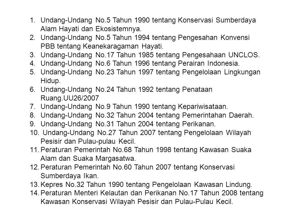 Undang-Undang No.5 Tahun 1990 tentang Konservasi Sumberdaya Alam Hayati dan Ekosistemnya.