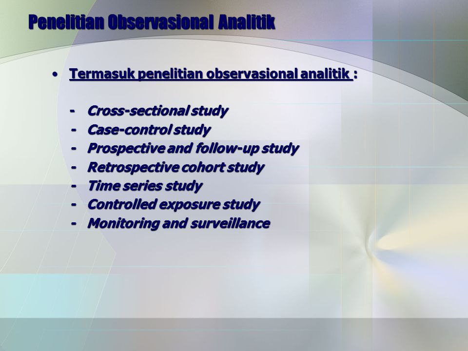 Penelitian Observasional Analitik