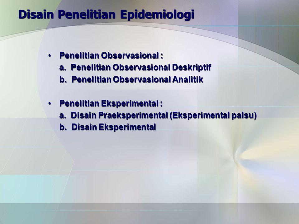 Disain Penelitian Epidemiologi