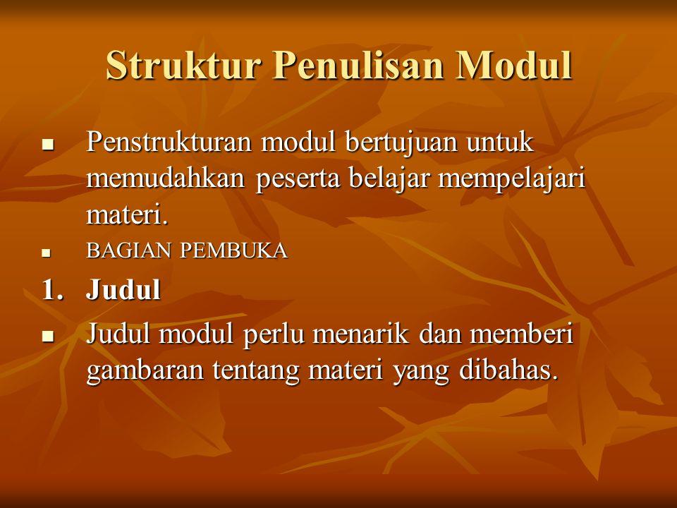 Struktur Penulisan Modul