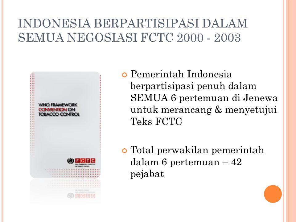 INDONESIA BERPARTISIPASI DALAM SEMUA NEGOSIASI FCTC 2000 - 2003