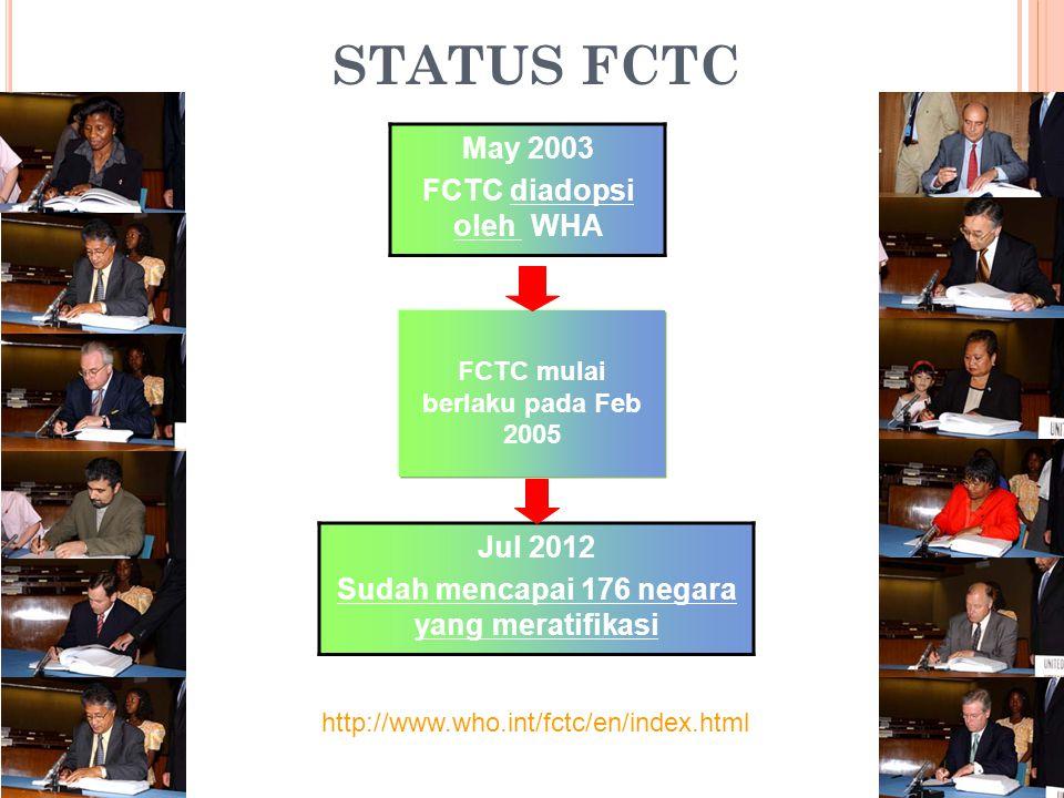 STATUS FCTC May 2003 FCTC diadopsi oleh WHA Jul 2012