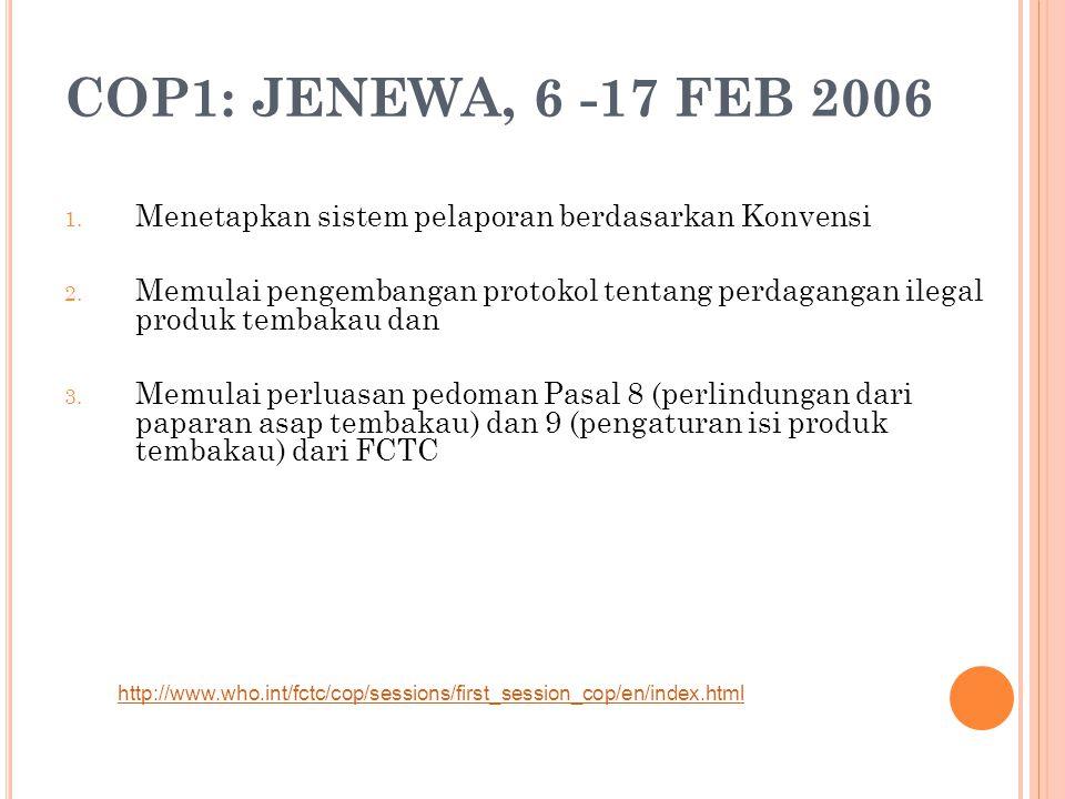 COP1: JENEWA, 6 -17 FEB 2006 Menetapkan sistem pelaporan berdasarkan Konvensi.