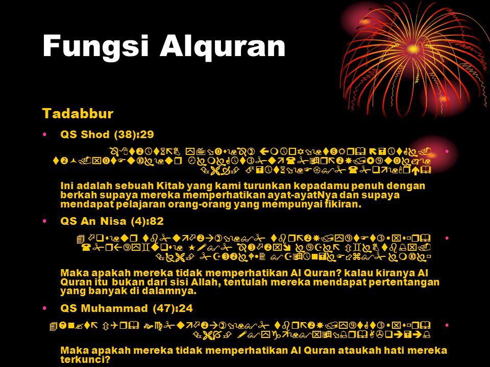 Fungsi Alquran Tadabbur QS Shod (38):29 QS An Nisa (4):82