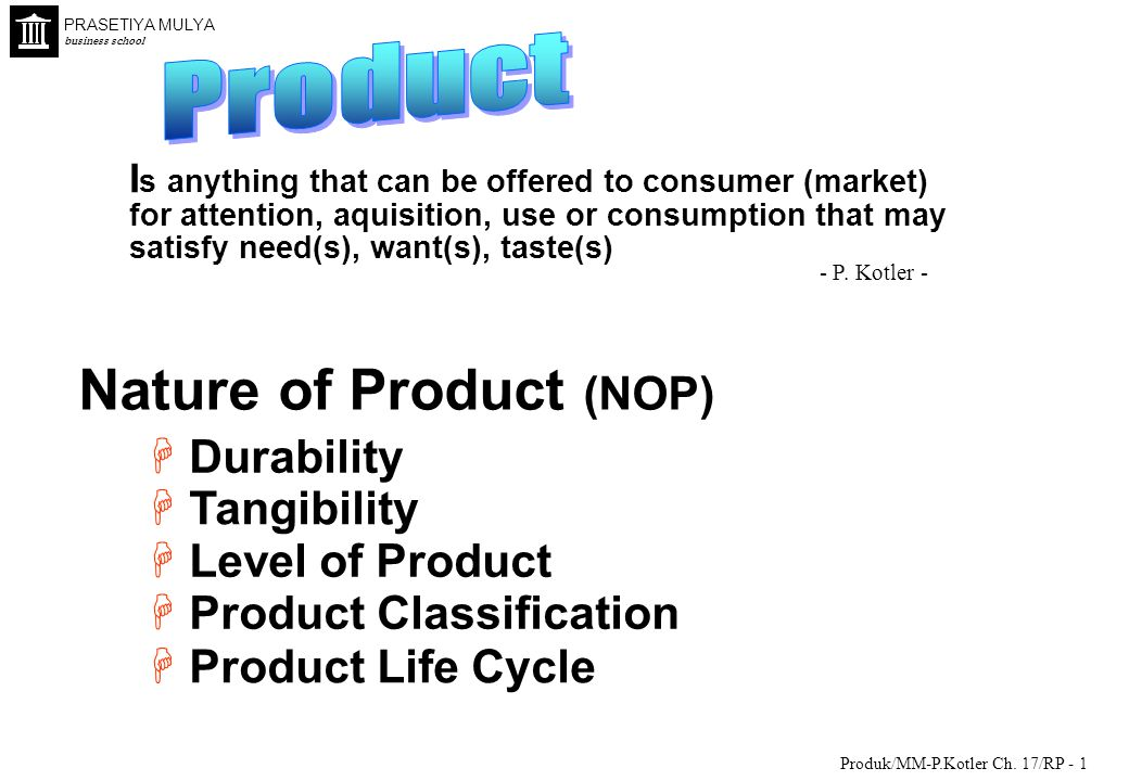 Nature of Product (NOP)
