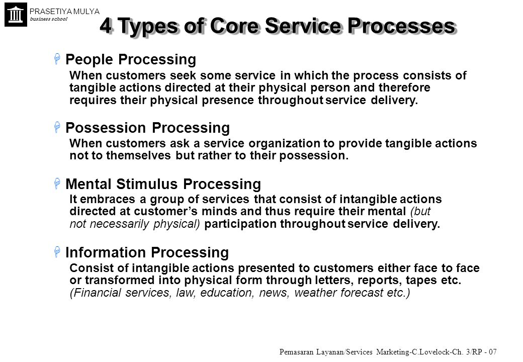 4 Types of Core Service Processes