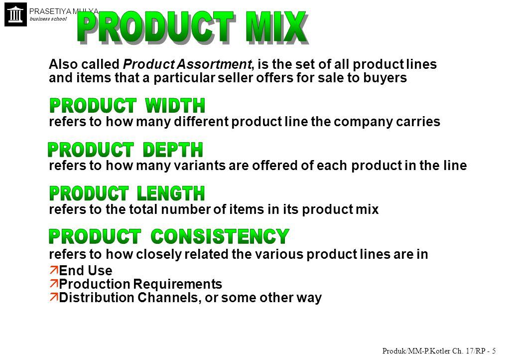 PRODUCT MIX Also called Product Assortment, is the set of all product lines. and items that a particular seller offers for sale to buyers.