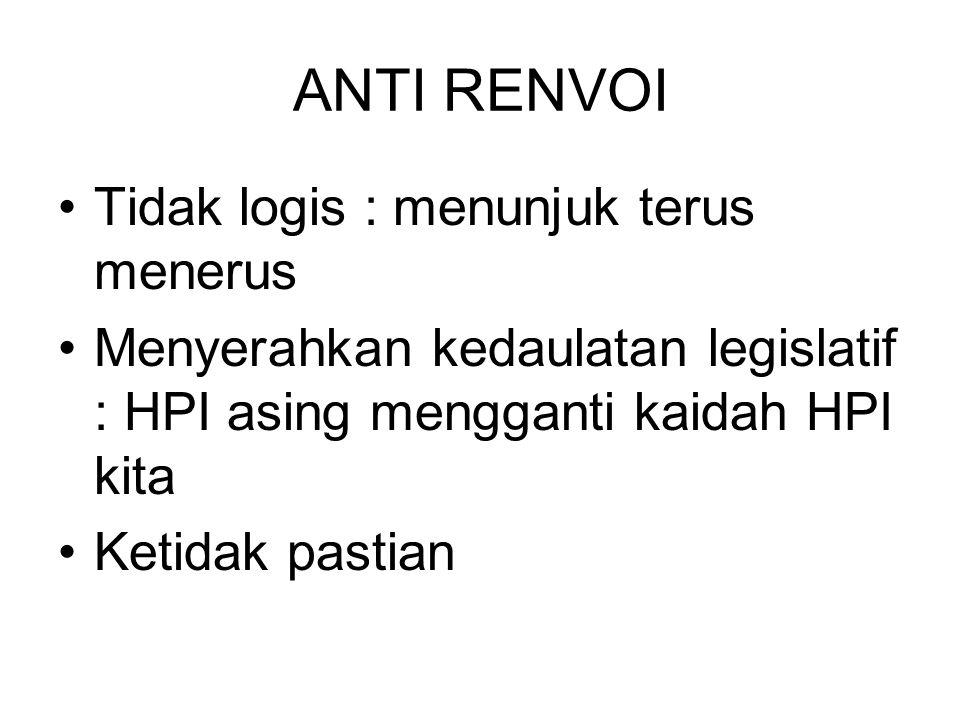 ANTI RENVOI Tidak logis : menunjuk terus menerus