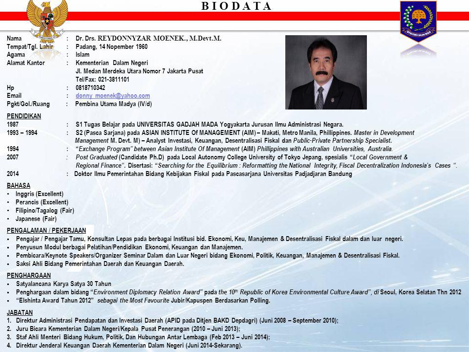 B I O D A T A Nama : Dr. Drs. REYDONNYZAR MOENEK., M.Devt.M.