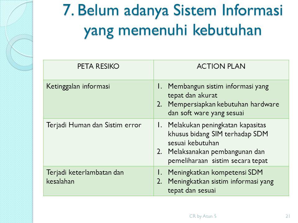 7. Belum adanya Sistem Informasi yang memenuhi kebutuhan