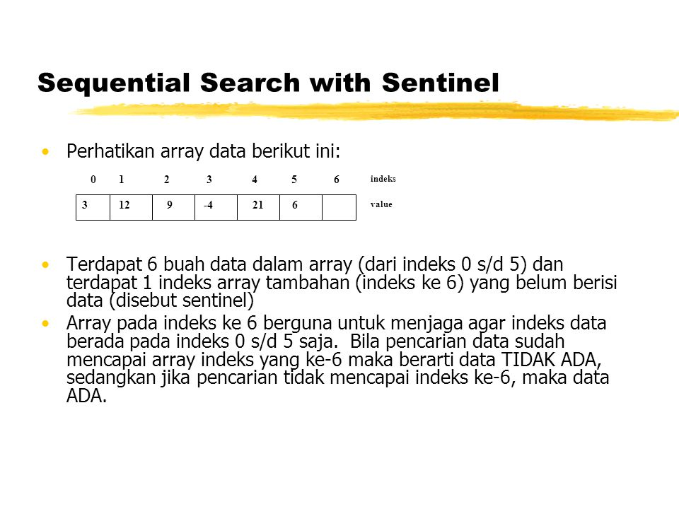 Sequential Search with Sentinel