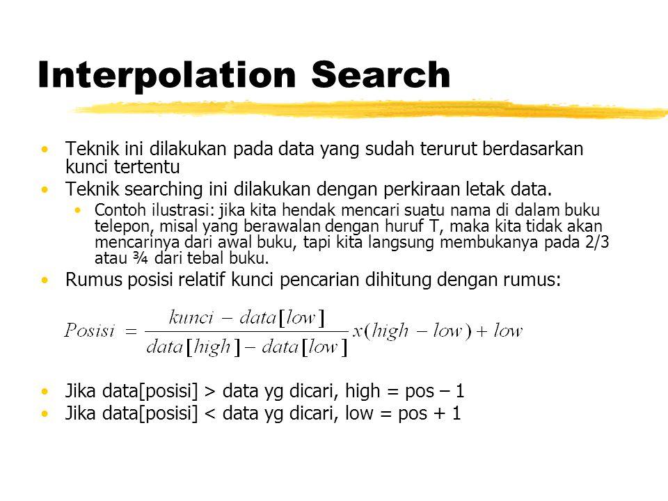 Interpolation Search Teknik ini dilakukan pada data yang sudah terurut berdasarkan kunci tertentu.