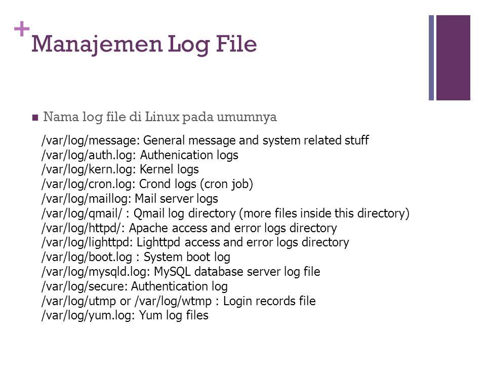 Manajemen Log File Nama log file di Linux pada umumnya