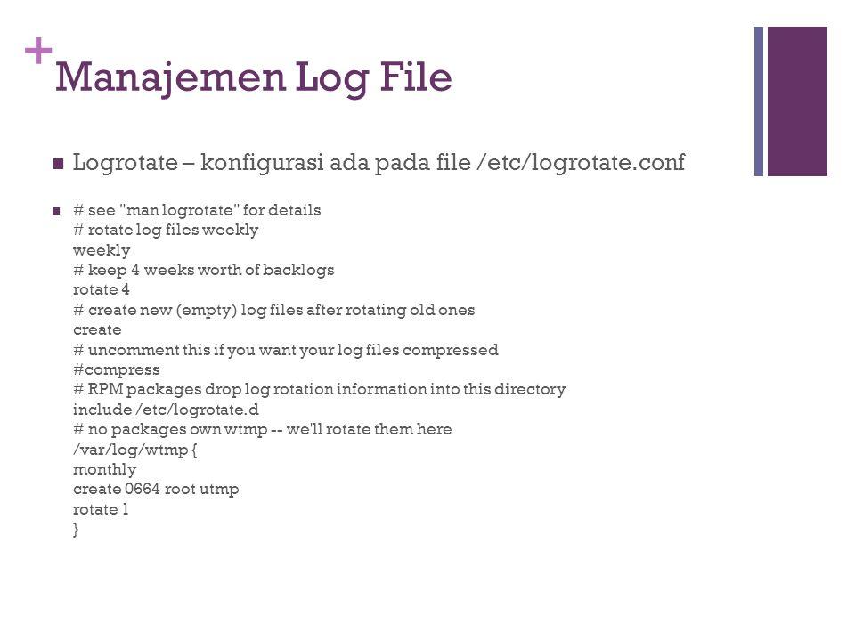 Manajemen Log File Logrotate – konfigurasi ada pada file /etc/logrotate.conf.