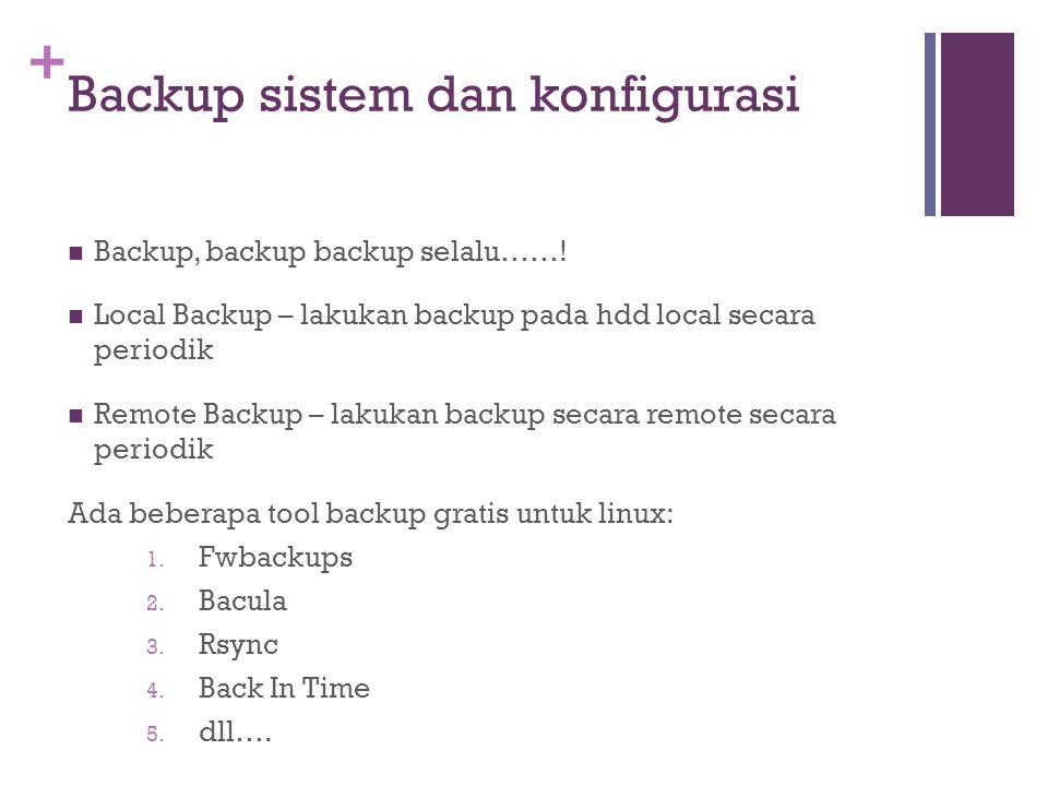 Backup sistem dan konfigurasi
