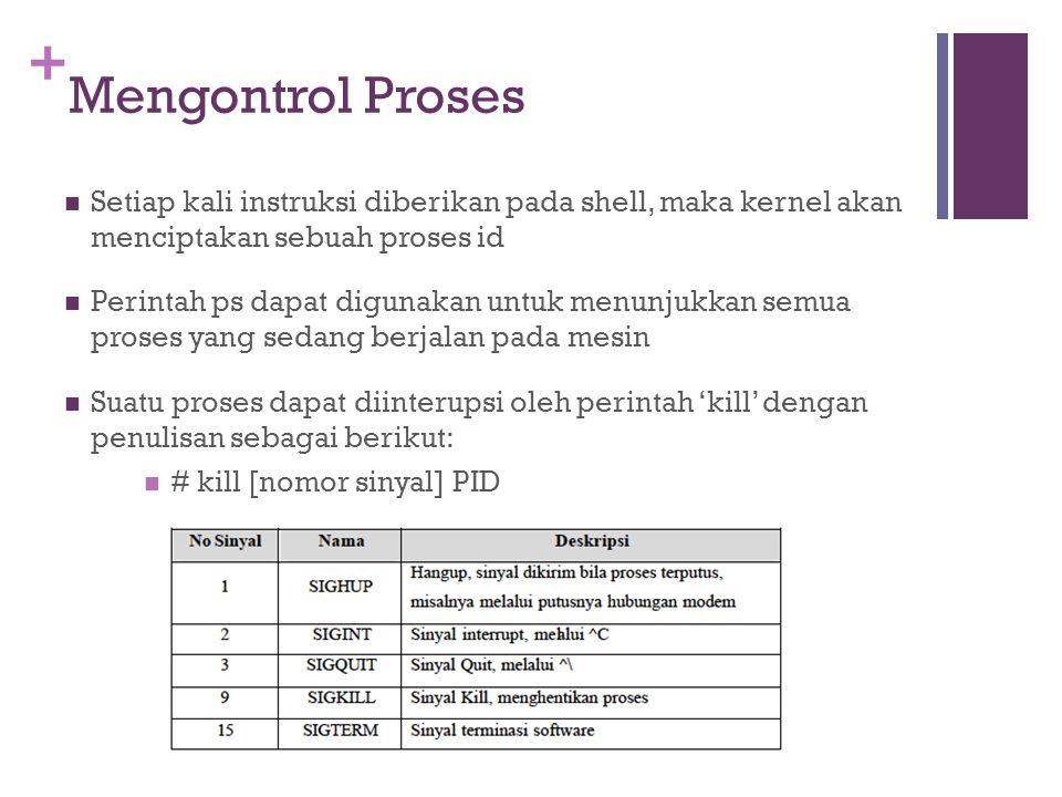Mengontrol Proses Setiap kali instruksi diberikan pada shell, maka kernel akan menciptakan sebuah proses id.