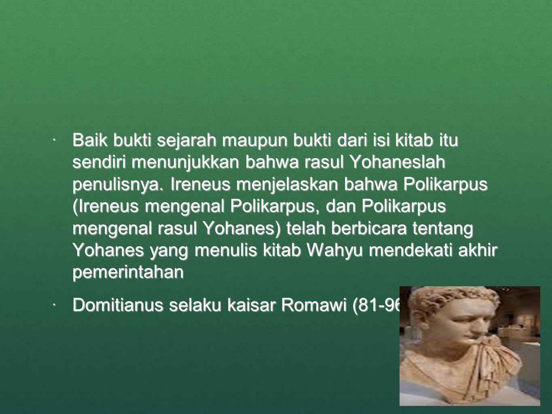 Baik bukti sejarah maupun bukti dari isi kitab itu sendiri menunjukkan bahwa rasul Yohaneslah penulisnya. Ireneus menjelaskan bahwa Polikarpus (Ireneus mengenal Polikarpus, dan Polikarpus mengenal rasul Yohanes) telah berbicara tentang Yohanes yang menulis kitab Wahyu mendekati akhir pemerintahan