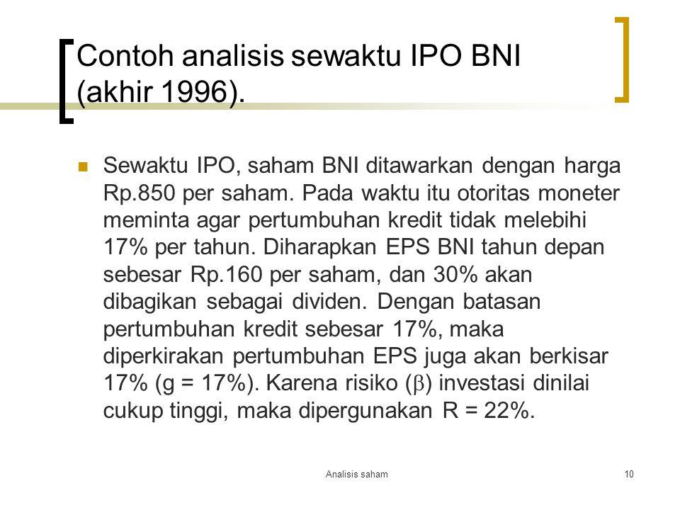 Contoh analisis sewaktu IPO BNI (akhir 1996).