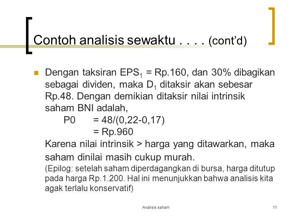 Contoh analisis sewaktu . . . . (cont'd)