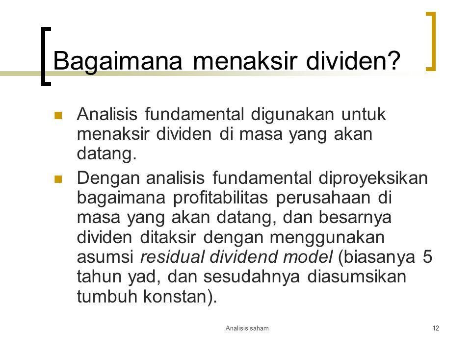 Bagaimana menaksir dividen