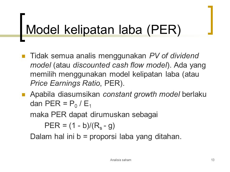 Model kelipatan laba (PER)