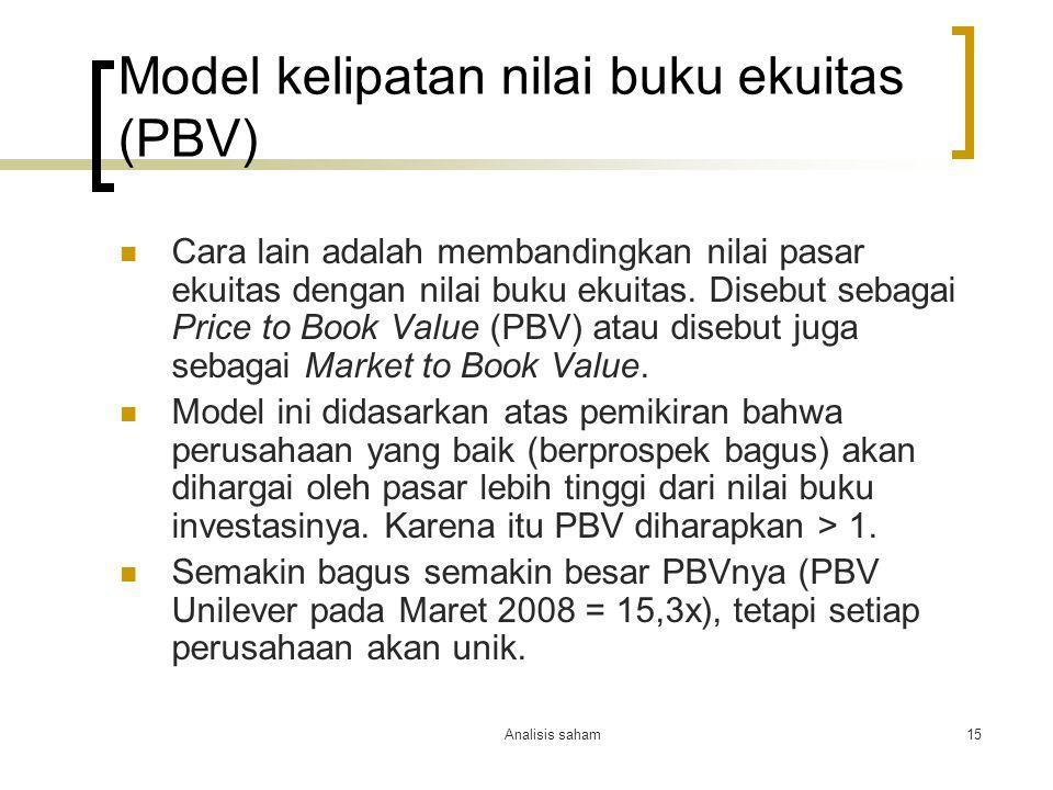 Model kelipatan nilai buku ekuitas (PBV)