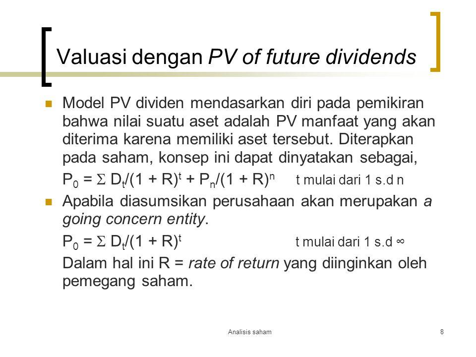 Valuasi dengan PV of future dividends