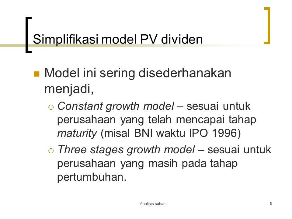 Simplifikasi model PV dividen