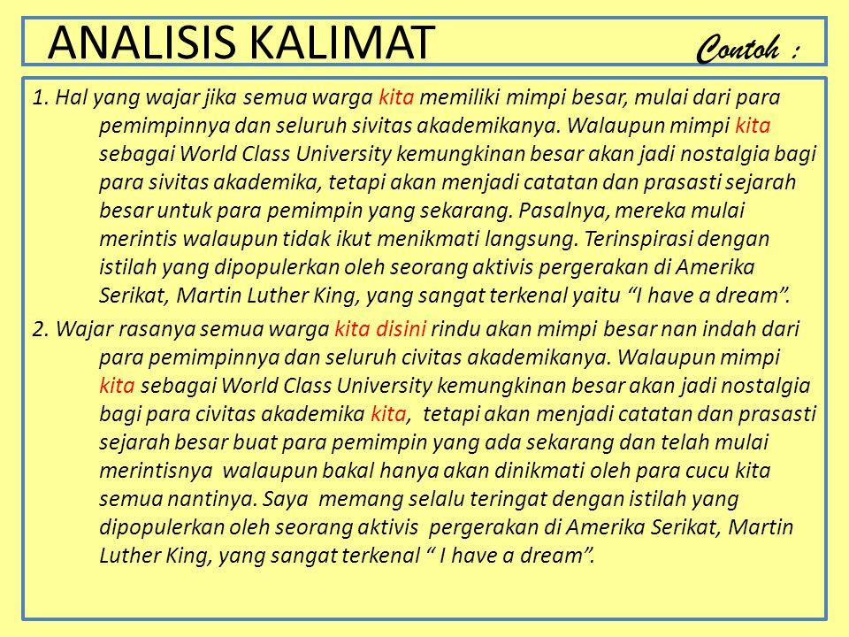 ANALISIS KALIMAT Contoh :