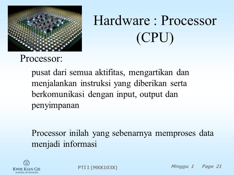 Hardware : Processor (CPU)