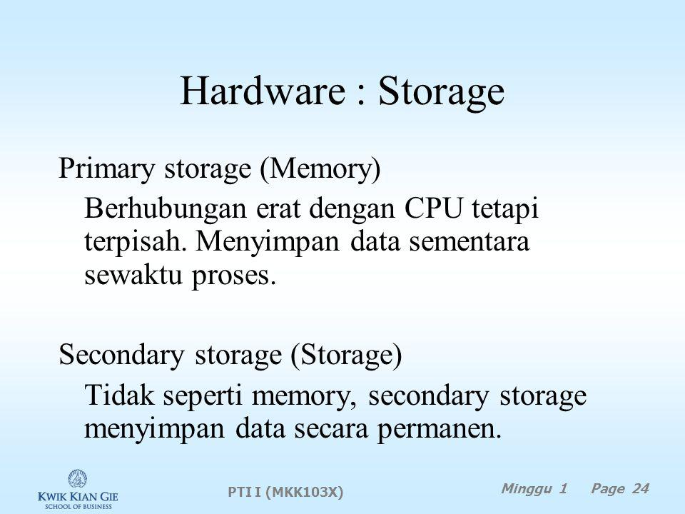 Hardware : Storage Primary storage (Memory)