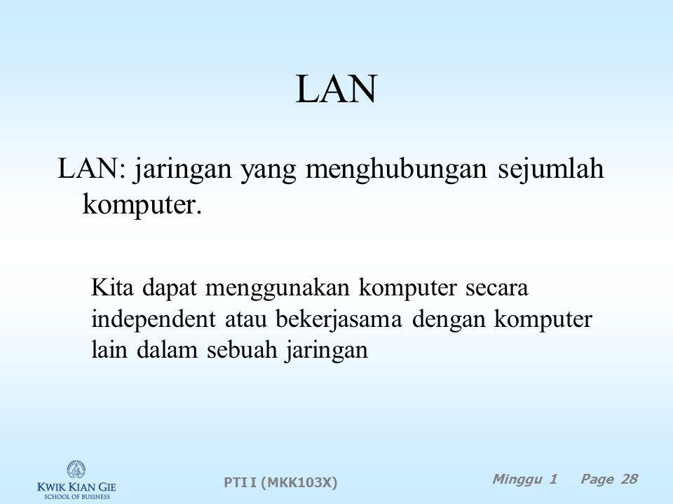 LAN LAN: jaringan yang menghubungan sejumlah komputer.