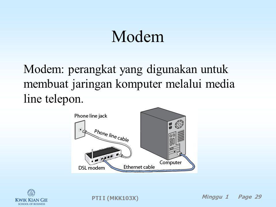 Modem Modem: perangkat yang digunakan untuk membuat jaringan komputer melalui media line telepon. PTI I (MKK103X)